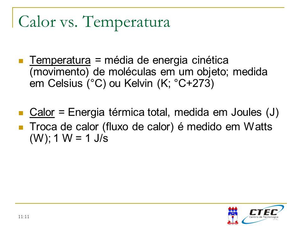11:11 Temperatura = média de energia cinética (movimento) de moléculas em um objeto; medida em Celsius (°C) ou Kelvin (K; °C+273) Calor = Energia térm