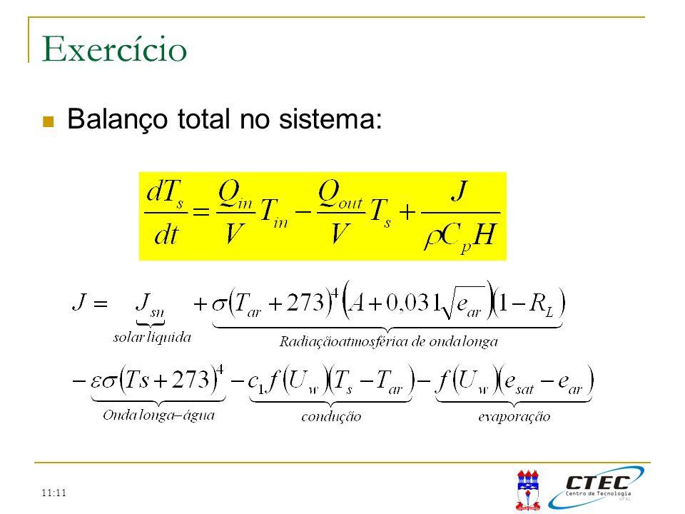 11:11 Exercício Balanço total no sistema: