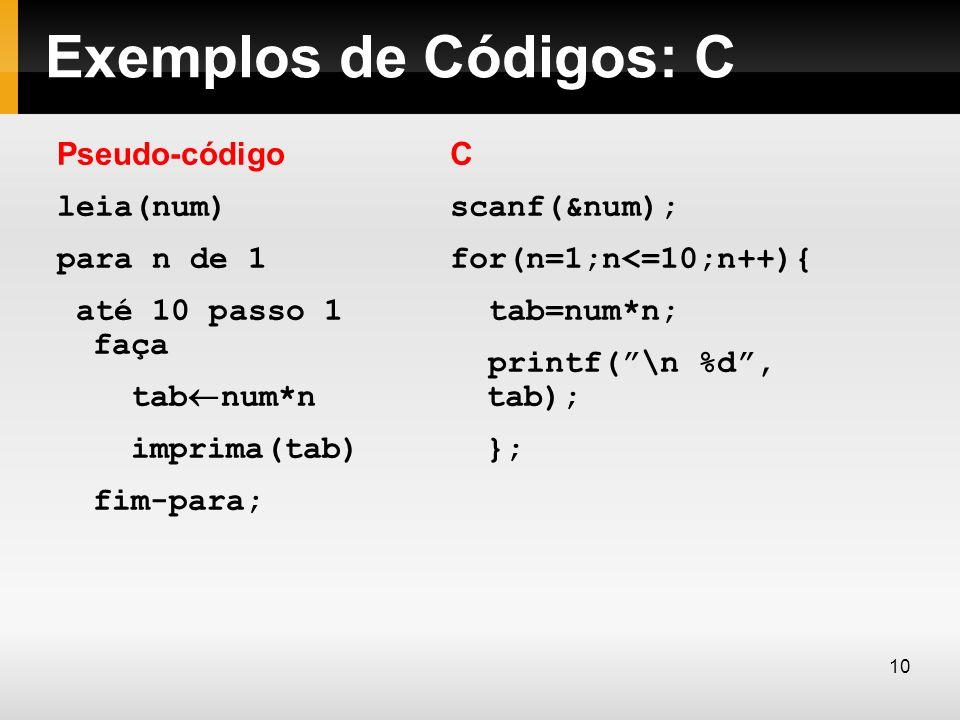 Exemplos de Códigos: C Pseudo-código leia(num) para n de 1 até 10 passo 1 faça tab num*n imprima(tab) fim-para; C scanf(&num); for(n=1;n<=10;n++){ tab