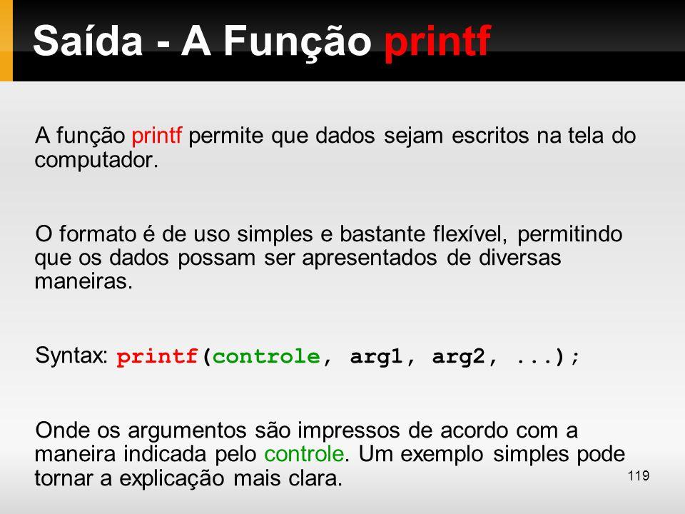 Saída - A Função printf A função printf permite que dados sejam escritos na tela do computador. O formato é de uso simples e bastante flexível, permit