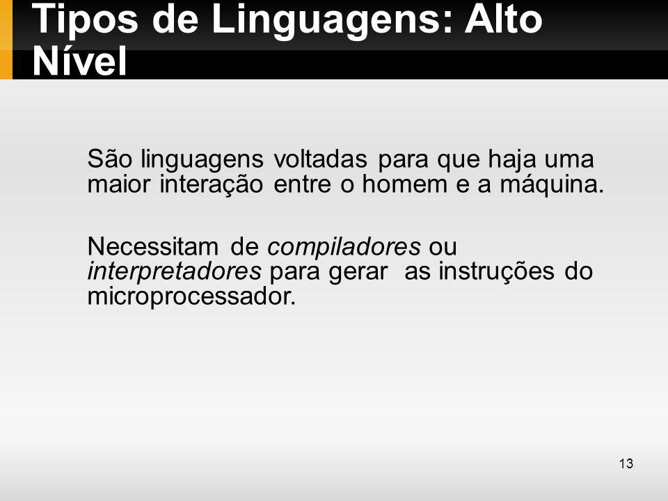 Tipos de Linguagens: Alto Nível São linguagens voltadas para que haja uma maior interação entre o homem e a máquina. Necessitam de compiladores ou int