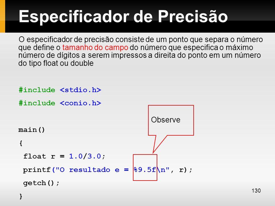 Especificador de Precisão O especificador de precisão consiste de um ponto que separa o número que define o tamanho do campo do número que especifica