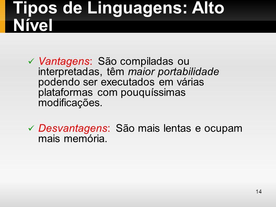 Tipos de Linguagens: Alto Nível Vantagens: São compiladas ou interpretadas, têm maior portabilidade podendo ser executados em várias plataformas com p