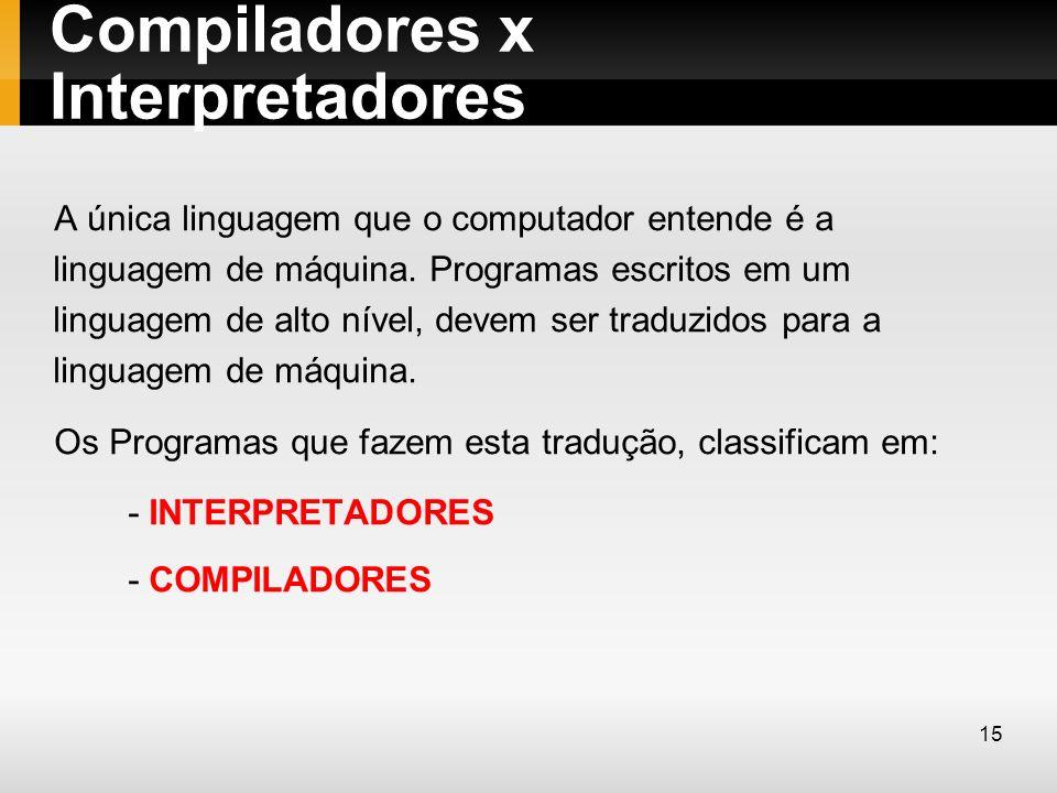 Compiladores x Interpretadores A única linguagem que o computador entende é a linguagem de máquina. Programas escritos em um linguagem de alto nível,