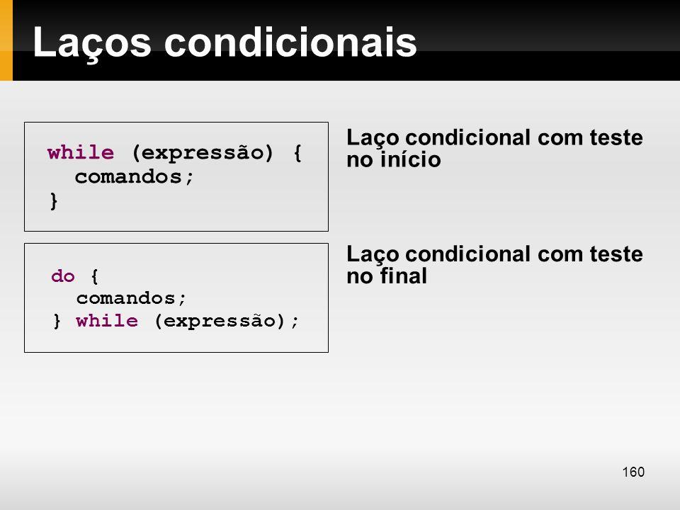 Laços condicionais while (expressão) { comandos; } do { comandos; } while (expressão); Laço condicional com teste no início Laço condicional com teste