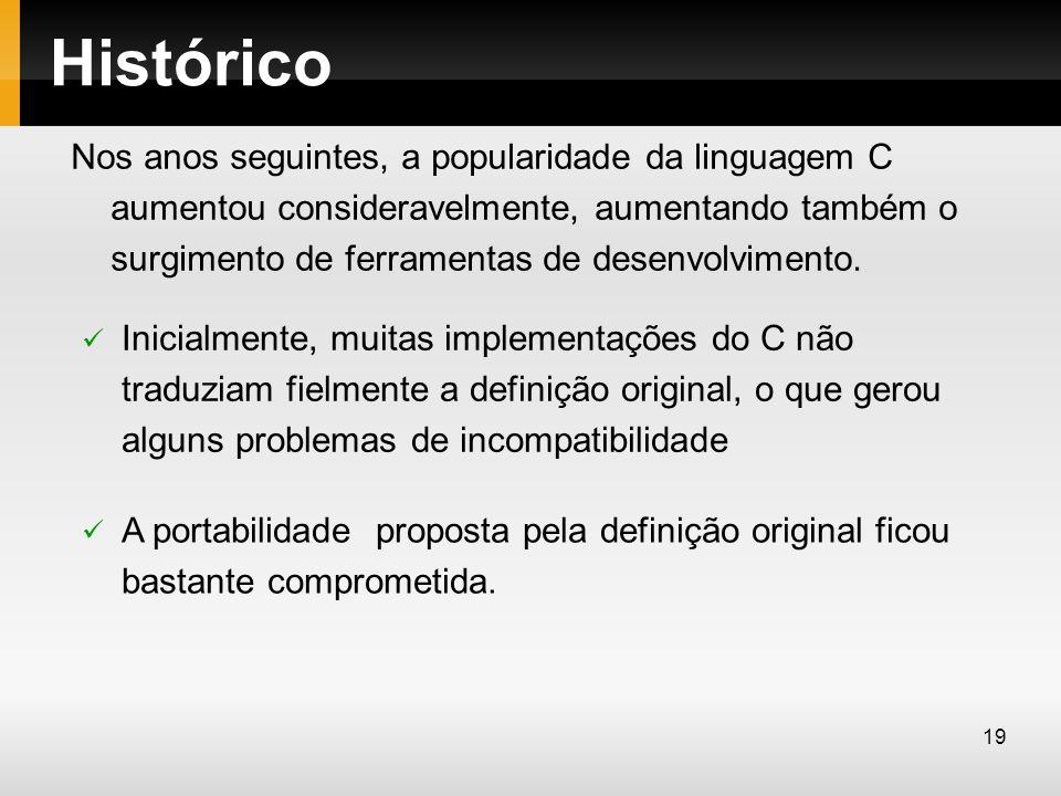 Histórico Nos anos seguintes, a popularidade da linguagem C aumentou consideravelmente, aumentando também o surgimento de ferramentas de desenvolvimen