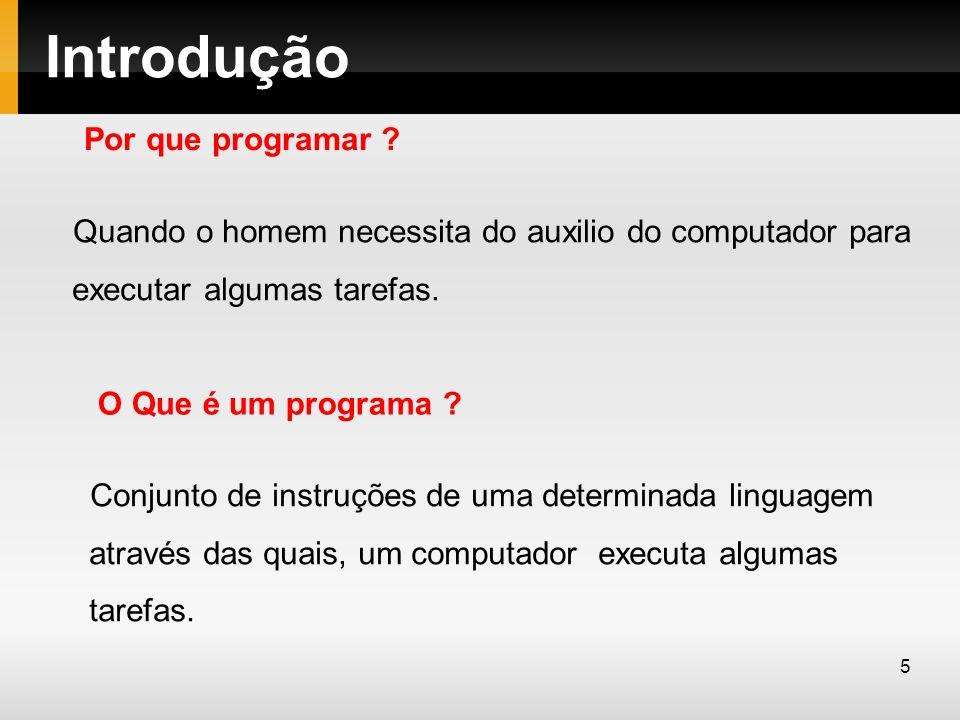 Introdução Uma linguagem consiste de um conjunto de palavras reservadas e regras de sintaxe que possibilita criar programas de computadores.