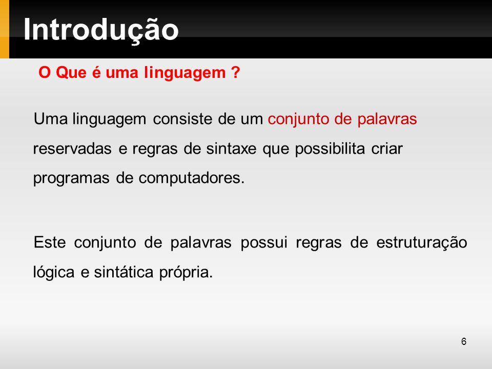 Introdução Uma linguagem consiste de um conjunto de palavras reservadas e regras de sintaxe que possibilita criar programas de computadores. Este conj