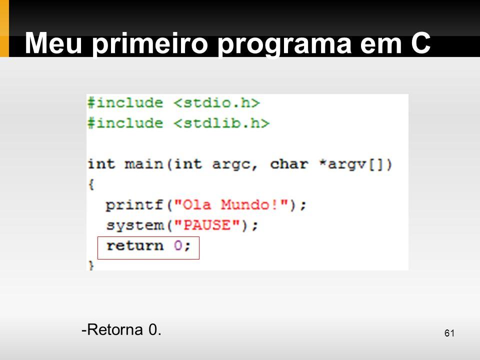 Meu primeiro programa em C -Retorna 0. 61