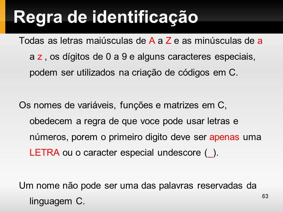 Regra de identificação Todas as letras maiúsculas de A a Z e as minúsculas de a a z, os dígitos de 0 a 9 e alguns caracteres especiais, podem ser util