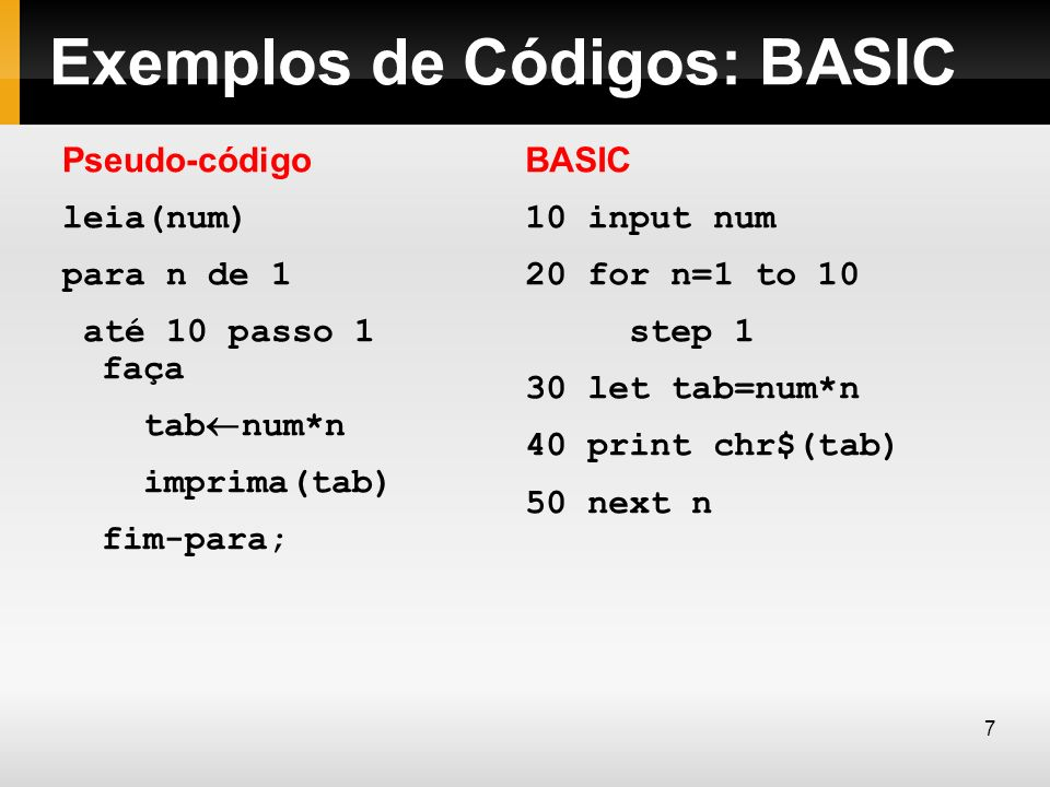Exemplos de Códigos: BASIC Pseudo-código leia(num) para n de 1 até 10 passo 1 faça tab num*n imprima(tab) fim-para; BASIC 10 input num 20 for n=1 to 1