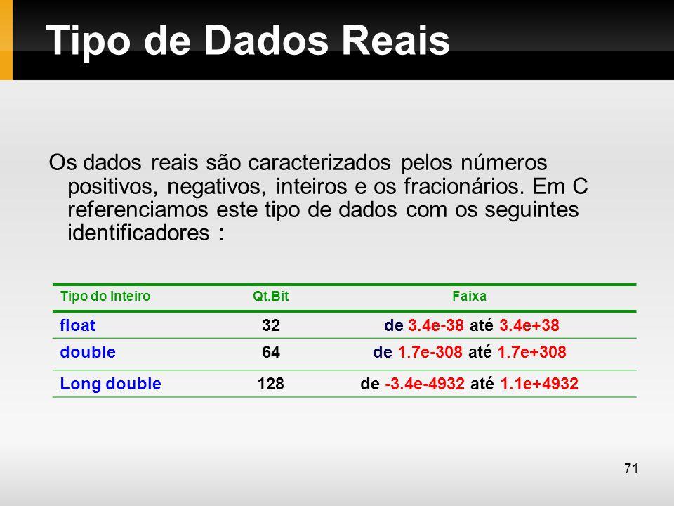 Tipo de Dados Reais Os dados reais são caracterizados pelos números positivos, negativos, inteiros e os fracionários. Em C referenciamos este tipo de