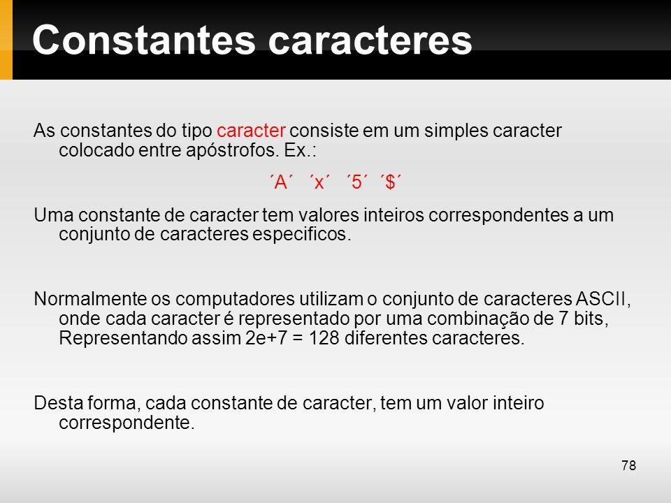 Constantes caracteres As constantes do tipo caracter consiste em um simples caracter colocado entre apóstrofos. Ex.: ´A´ ´x´ ´5´ ´$´ Uma constante de