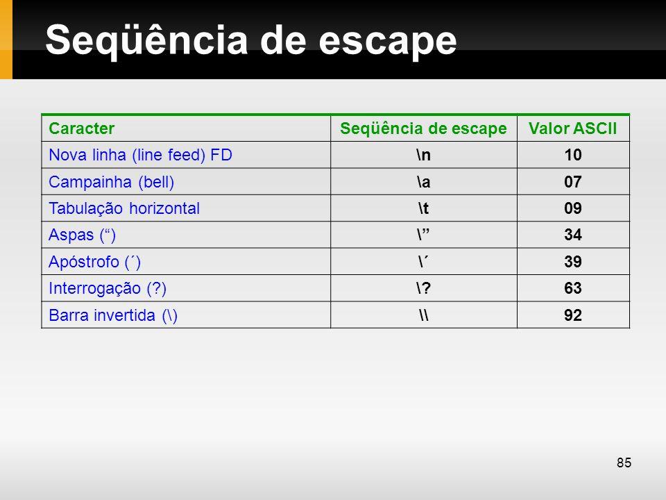 Seqüência de escape CaracterSeqüência de escapeValor ASCII Nova linha (line feed) FD\n10 Campainha (bell)\a07 Tabulação horizontal\t09 Aspas ()\34 Apó
