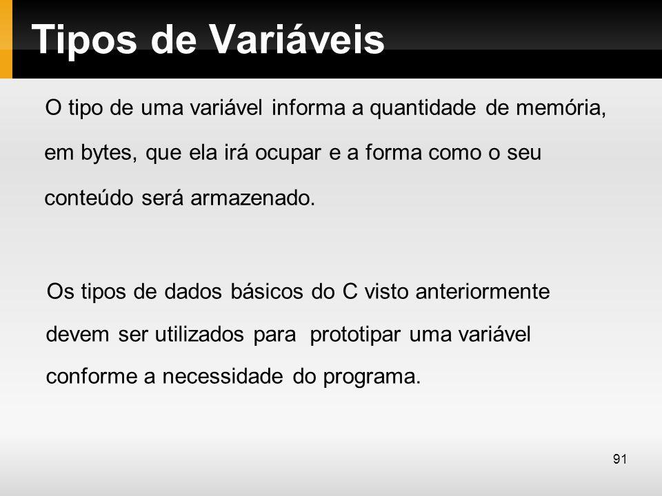 Tipos de Variáveis O tipo de uma variável informa a quantidade de memória, em bytes, que ela irá ocupar e a forma como o seu conteúdo será armazenado.