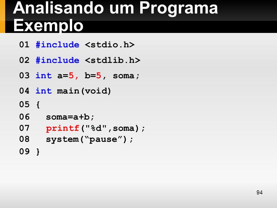Analisando um Programa Exemplo 01 #include 02 #include 03 int a=5, b=5, soma; 04 int main(void) 05 { 06soma=a+b; 07 printf(