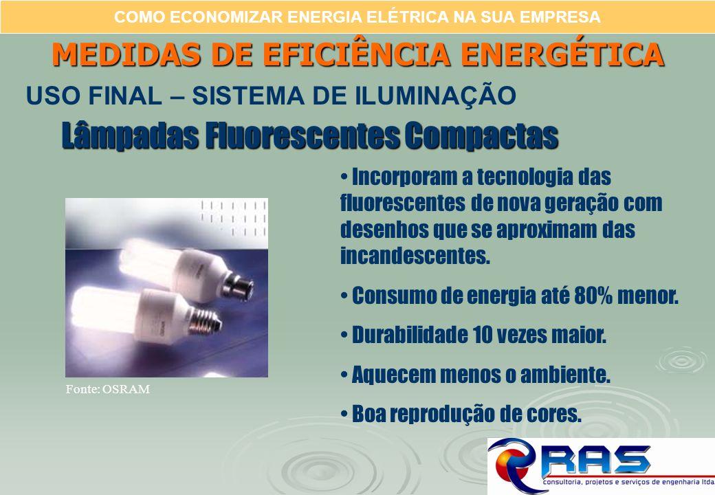 COMO ECONOMIZAR ENERGIA ELÉTRICA NA SUA EMPRESA Lâmpadas Fluorescentes Compactas Incorporam a tecnologia das fluorescentes de nova geração com desenho