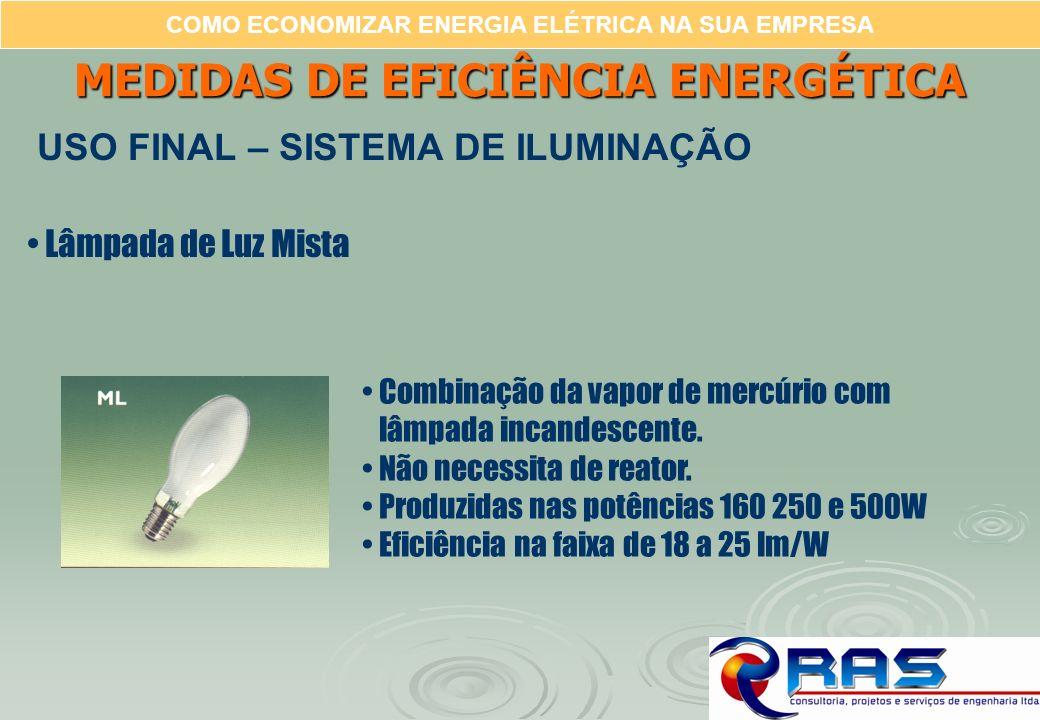 COMO ECONOMIZAR ENERGIA ELÉTRICA NA SUA EMPRESA Lâmpada de Luz Mista Combinação da vapor de mercúrio com lâmpada incandescente. Não necessita de reato