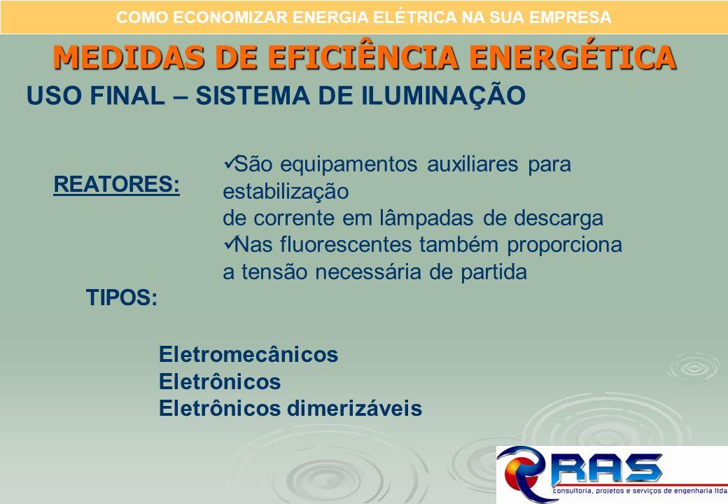 COMO ECONOMIZAR ENERGIA ELÉTRICA NA SUA EMPRESA REATORES: São equipamentos auxiliares para estabilização de corrente em lâmpadas de descarga Nas fluor