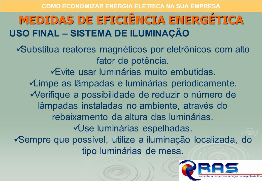 COMO ECONOMIZAR ENERGIA ELÉTRICA NA SUA EMPRESA MEDIDAS DE EFICIÊNCIA ENERGÉTICA USO FINAL – SISTEMA DE ILUMINAÇÃO Substitua reatores magnéticos por e
