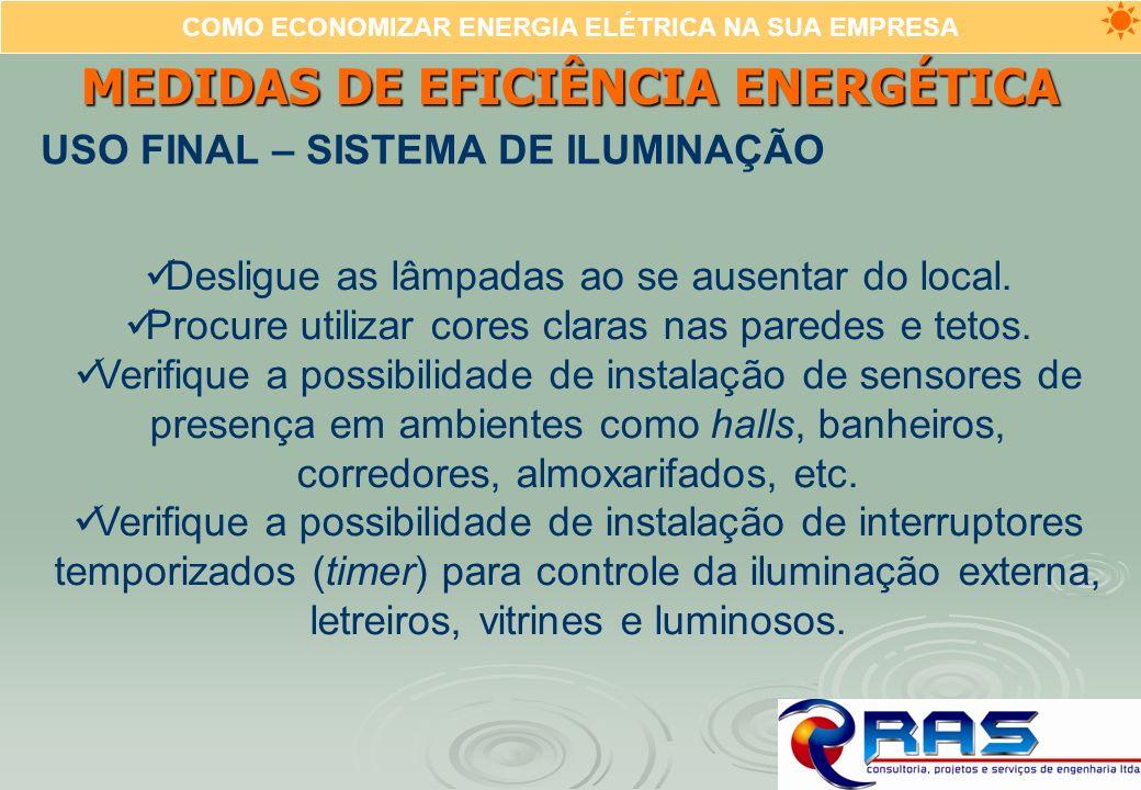 COMO ECONOMIZAR ENERGIA ELÉTRICA NA SUA EMPRESA MEDIDAS DE EFICIÊNCIA ENERGÉTICA USO FINAL – SISTEMA DE ILUMINAÇÃO Desligue as lâmpadas ao se ausentar