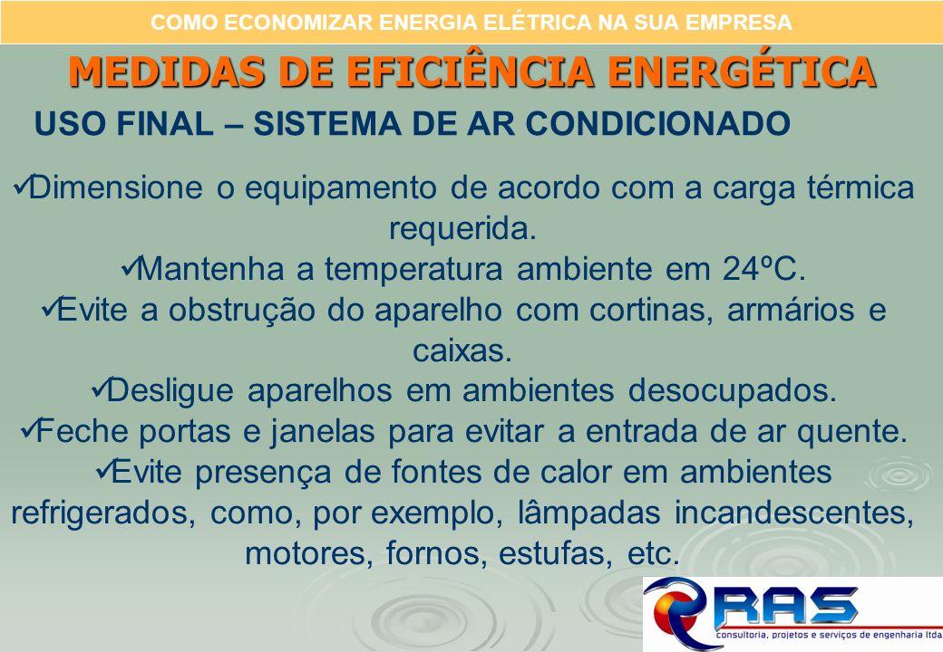COMO ECONOMIZAR ENERGIA ELÉTRICA NA SUA EMPRESA MEDIDAS DE EFICIÊNCIA ENERGÉTICA USO FINAL – SISTEMA DE AR CONDICIONADO Dimensione o equipamento de ac