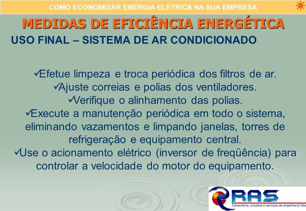COMO ECONOMIZAR ENERGIA ELÉTRICA NA SUA EMPRESA MEDIDAS DE EFICIÊNCIA ENERGÉTICA USO FINAL – SISTEMA DE AR CONDICIONADO Efetue limpeza e troca periódi