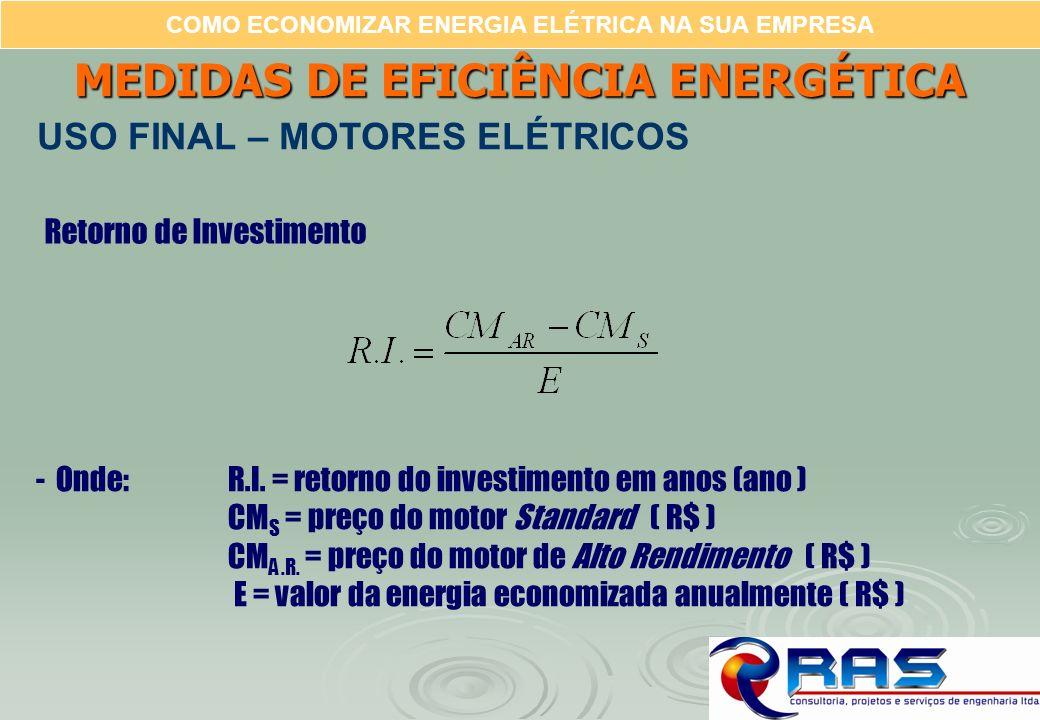 COMO ECONOMIZAR ENERGIA ELÉTRICA NA SUA EMPRESA Retorno de Investimento -Onde: R.I. = retorno do investimento em anos (ano ) CM S = preço do motor Sta