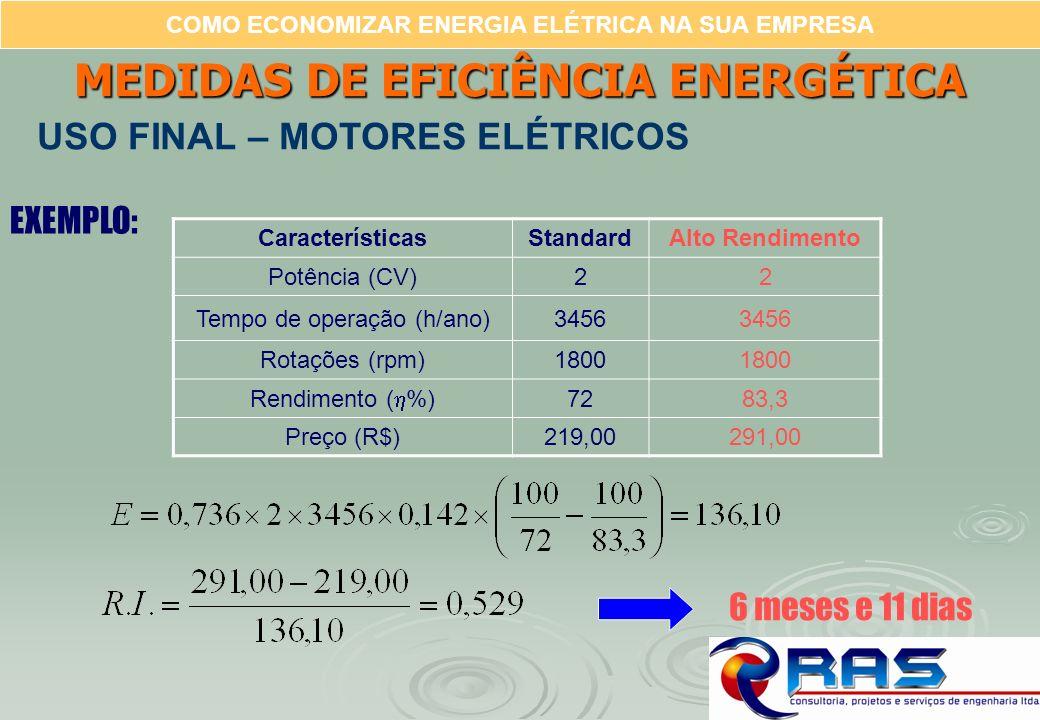 COMO ECONOMIZAR ENERGIA ELÉTRICA NA SUA EMPRESA EXEMPLO: CaracterísticasStandardAlto Rendimento Potência (CV)22 Tempo de operação (h/ano)3456 Rotações