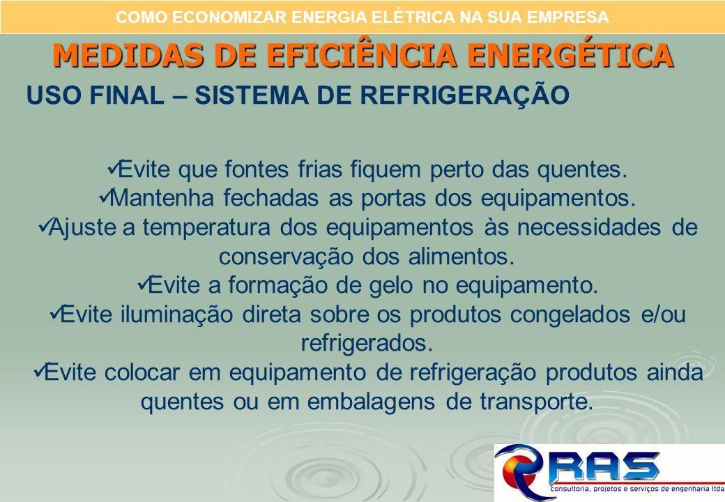 COMO ECONOMIZAR ENERGIA ELÉTRICA NA SUA EMPRESA MEDIDAS DE EFICIÊNCIA ENERGÉTICA USO FINAL – SISTEMA DE REFRIGERAÇÃO Evite que fontes frias fiquem per