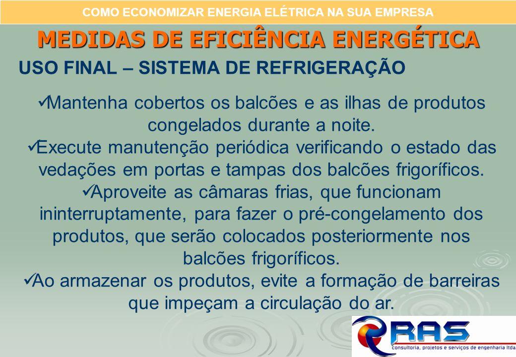 COMO ECONOMIZAR ENERGIA ELÉTRICA NA SUA EMPRESA MEDIDAS DE EFICIÊNCIA ENERGÉTICA USO FINAL – SISTEMA DE REFRIGERAÇÃO Mantenha cobertos os balcões e as