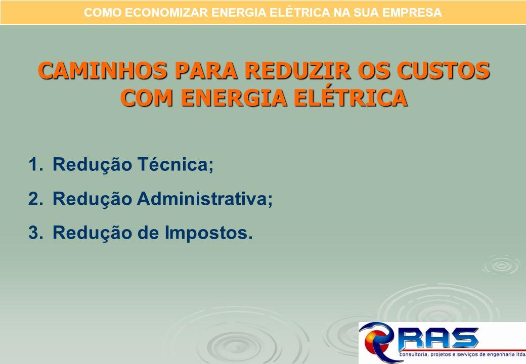 COMO ECONOMIZAR ENERGIA ELÉTRICA NA SUA EMPRESA 1.Redução Técnica; 2.Redução Administrativa; 3.Redução de Impostos. CAMINHOS PARA REDUZIR OS CUSTOS CO