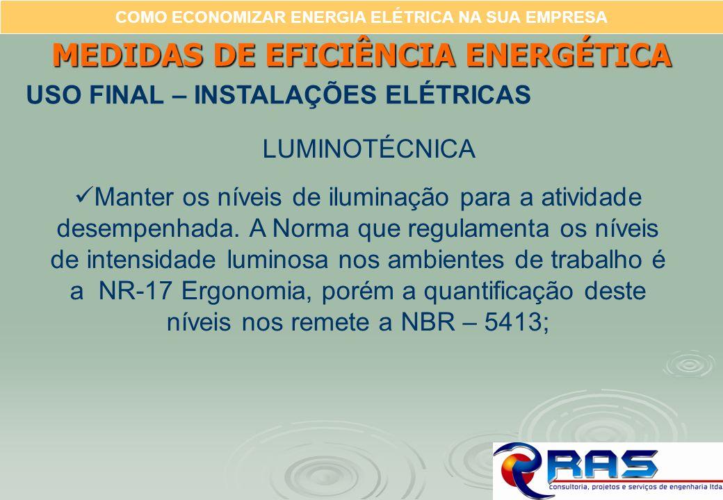 COMO ECONOMIZAR ENERGIA ELÉTRICA NA SUA EMPRESA MEDIDAS DE EFICIÊNCIA ENERGÉTICA USO FINAL – INSTALAÇÕES ELÉTRICAS Manter os níveis de iluminação para