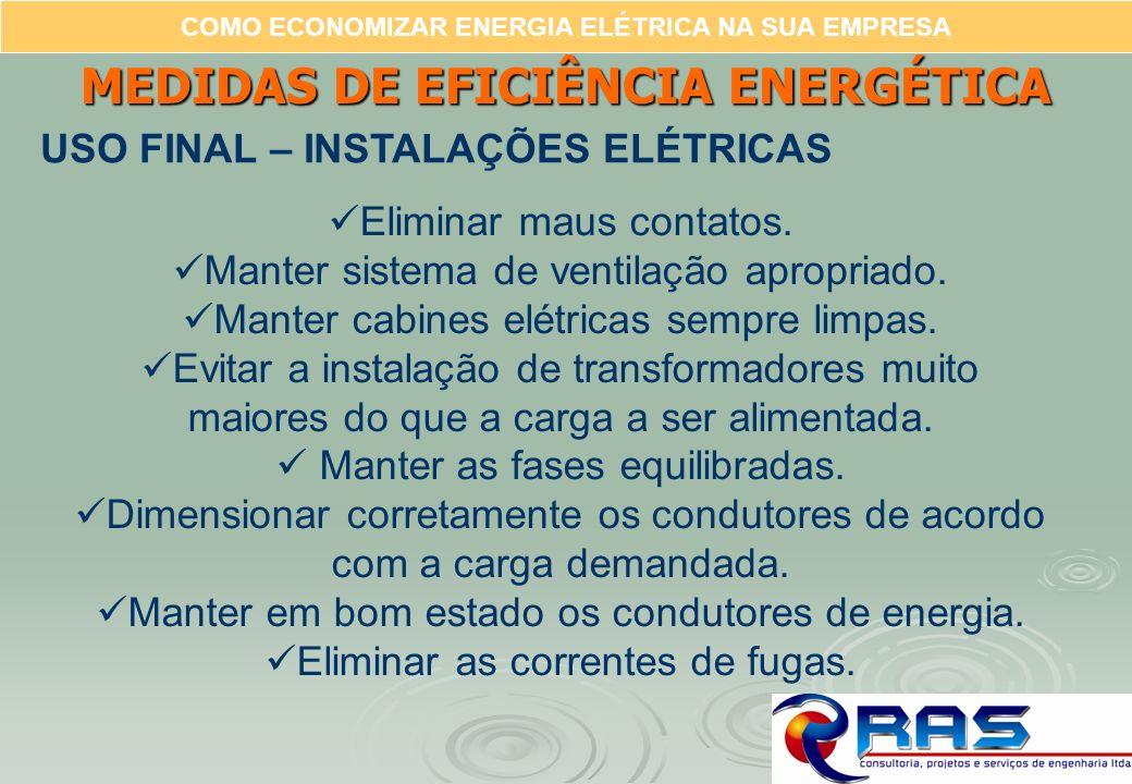 COMO ECONOMIZAR ENERGIA ELÉTRICA NA SUA EMPRESA MEDIDAS DE EFICIÊNCIA ENERGÉTICA USO FINAL – INSTALAÇÕES ELÉTRICAS Eliminar maus contatos. Manter sist