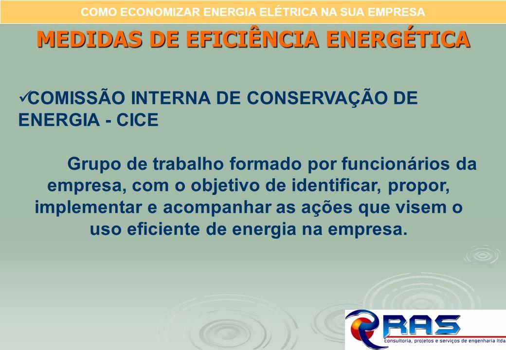 COMO ECONOMIZAR ENERGIA ELÉTRICA NA SUA EMPRESA MEDIDAS DE EFICIÊNCIA ENERGÉTICA COMISSÃO INTERNA DE CONSERVAÇÃO DE ENERGIA - CICE Grupo de trabalho f