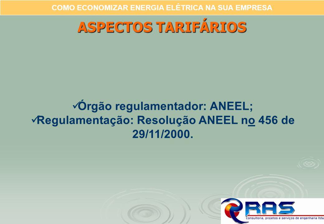 COMO ECONOMIZAR ENERGIA ELÉTRICA NA SUA EMPRESA ASPECTOS TARIFÁRIOS Órgão regulamentador: ANEEL; Regulamentação: Resolução ANEEL no 456 de 29/11/2000.