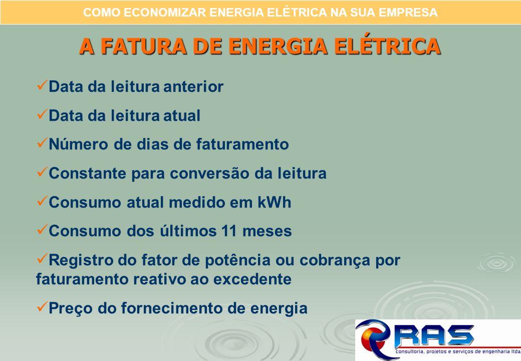 COMO ECONOMIZAR ENERGIA ELÉTRICA NA SUA EMPRESA A FATURA DE ENERGIA ELÉTRICA Data da leitura anterior Data da leitura atual Número de dias de faturame