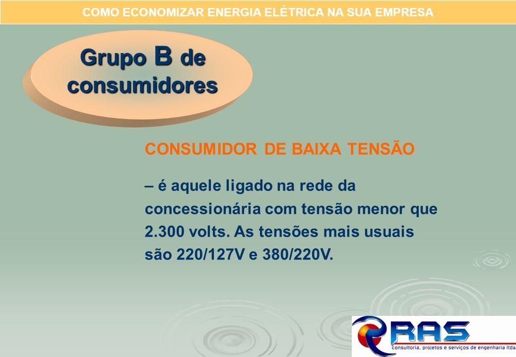 COMO ECONOMIZAR ENERGIA ELÉTRICA NA SUA EMPRESA Grupo B de consumidores CONSUMIDOR DE BAIXA TENSÃO – é aquele ligado na rede da concessionária com ten