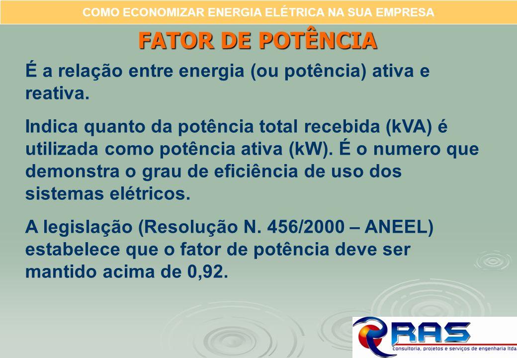 COMO ECONOMIZAR ENERGIA ELÉTRICA NA SUA EMPRESA FATOR DE POTÊNCIA É a relação entre energia (ou potência) ativa e reativa. Indica quanto da potência t