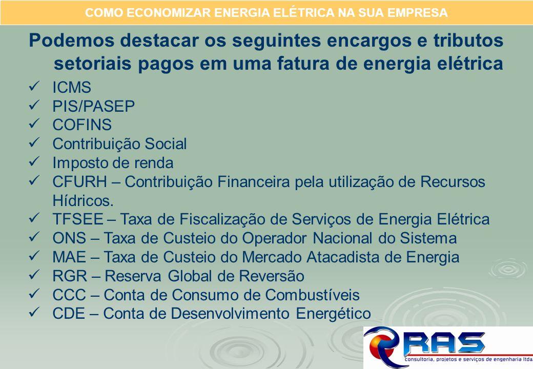 COMO ECONOMIZAR ENERGIA ELÉTRICA NA SUA EMPRESA Podemos destacar os seguintes encargos e tributos setoriais pagos em uma fatura de energia elétrica IC