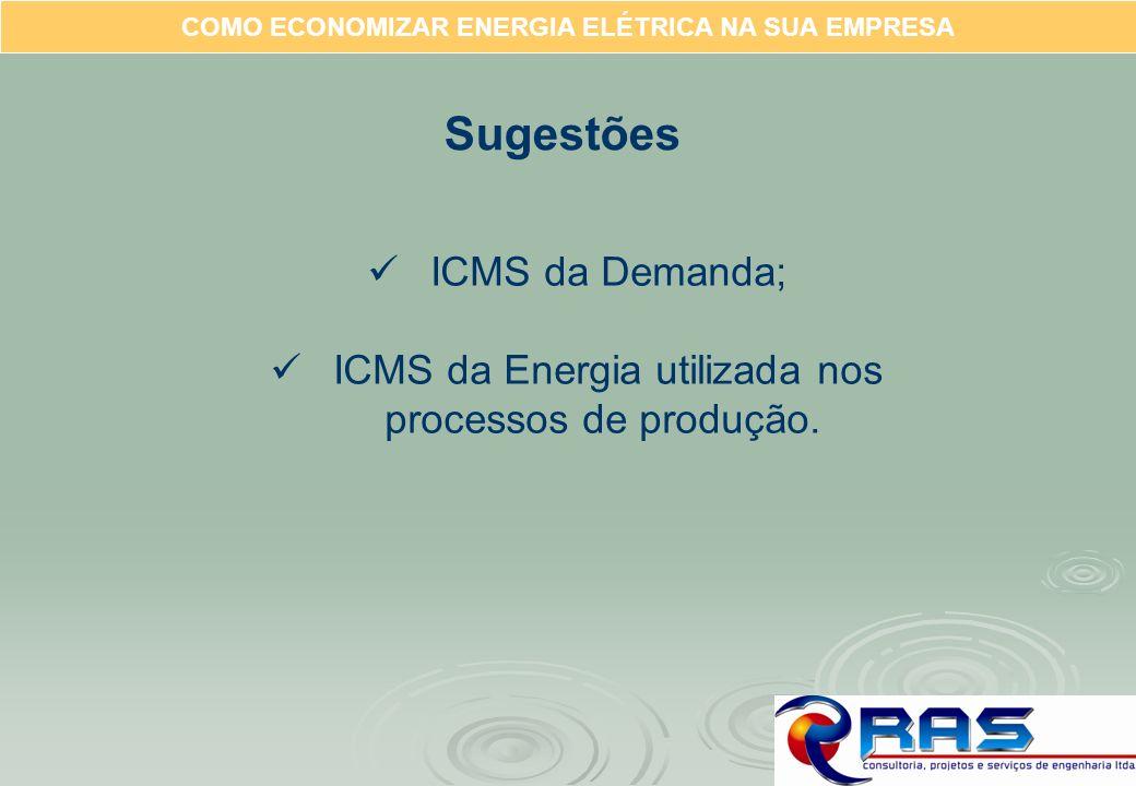 COMO ECONOMIZAR ENERGIA ELÉTRICA NA SUA EMPRESA Sugestões ICMS da Demanda; ICMS da Energia utilizada nos processos de produção.