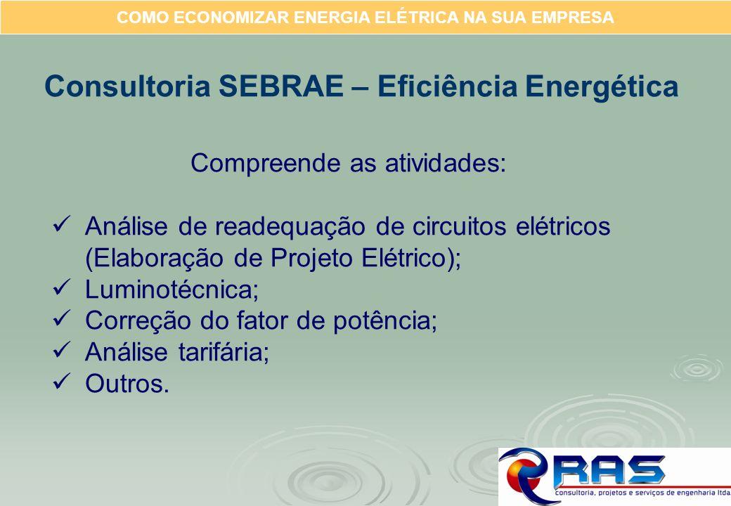 COMO ECONOMIZAR ENERGIA ELÉTRICA NA SUA EMPRESA Consultoria SEBRAE – Eficiência Energética Compreende as atividades: Análise de readequação de circuit