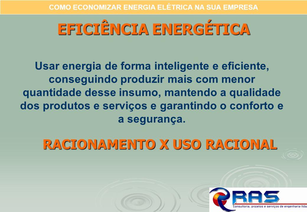 COMO ECONOMIZAR ENERGIA ELÉTRICA NA SUA EMPRESA Usar energia de forma inteligente e eficiente, conseguindo produzir mais com menor quantidade desse in