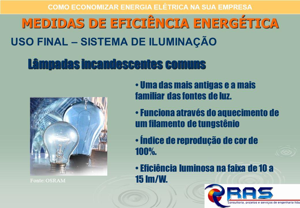 COMO ECONOMIZAR ENERGIA ELÉTRICA NA SUA EMPRESA Lâmpadas incandescentes comuns Uma das mais antigas e a mais familiar das fontes de luz. Funciona atra