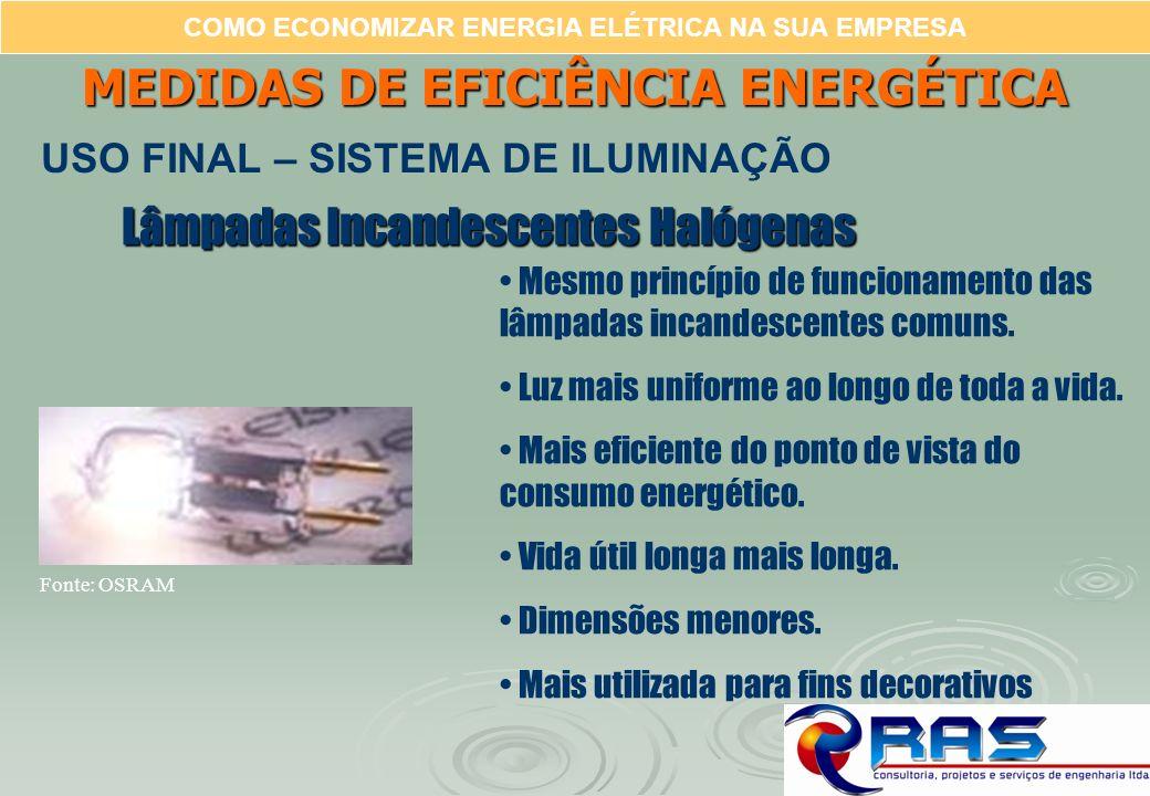 COMO ECONOMIZAR ENERGIA ELÉTRICA NA SUA EMPRESA Lâmpadas Incandescentes Halógenas Mesmo princípio de funcionamento das lâmpadas incandescentes comuns.