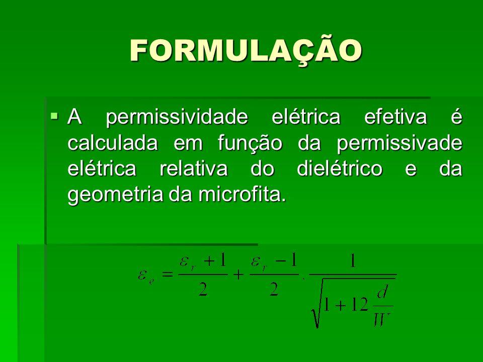 FORMULAÇÃO A permissividade elétrica efetiva é calculada em função da permissivade elétrica relativa do dielétrico e da geometria da microfita. A perm