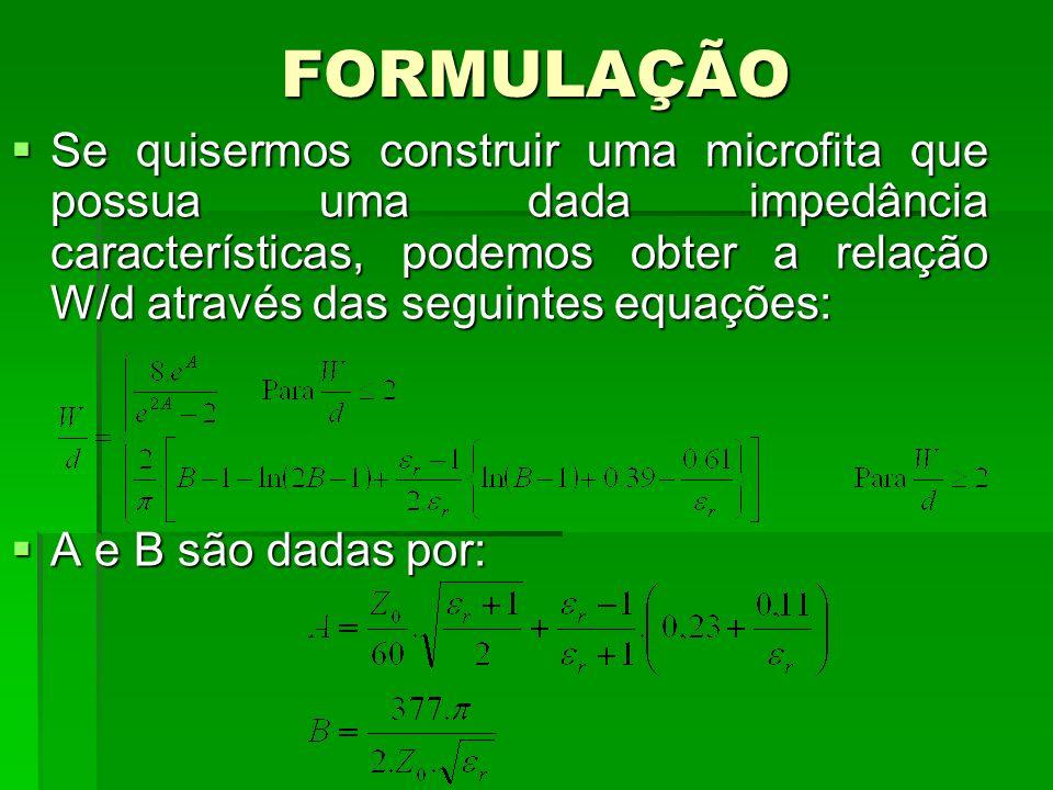 FORMULAÇÃO Se quisermos construir uma microfita que possua uma dada impedância características, podemos obter a relação W/d através das seguintes equa