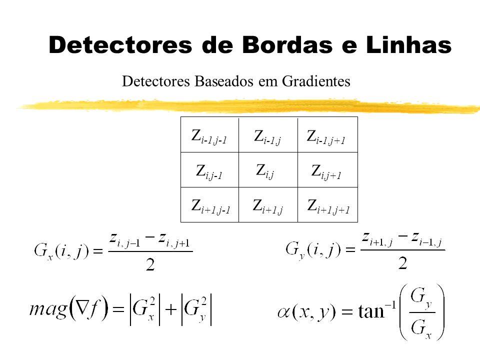 Detectores de Bordas e Linhas Detectores Baseados em Gradientes Z i-1,j-1 Z i-1,j+1 Z i,j-1 Z i-1,j Z i+1,j-1 Z i,j Z i+1,j Z i,j+1 Z i+1,j+1