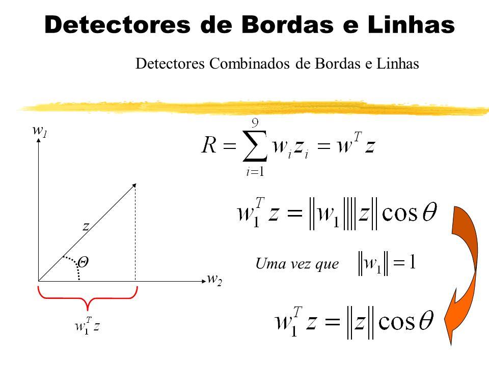 Detectores de Bordas e Linhas Detectores Combinados de Bordas e Linhas w1w1 z w2w2 Θ Uma vez que