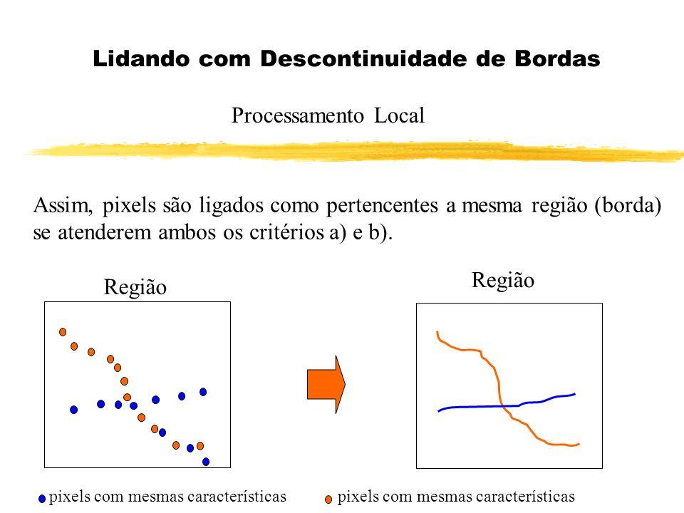 Lidando com Descontinuidade de Bordas Processamento Local Assim, pixels são ligados como pertencentes a mesma região (borda) se atenderem ambos os cri